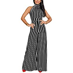 KAMESON Womens Sleeveless High Waisted Long Wide Leg Backless Turtle Neck Jumpsuits Rompers Black,Large