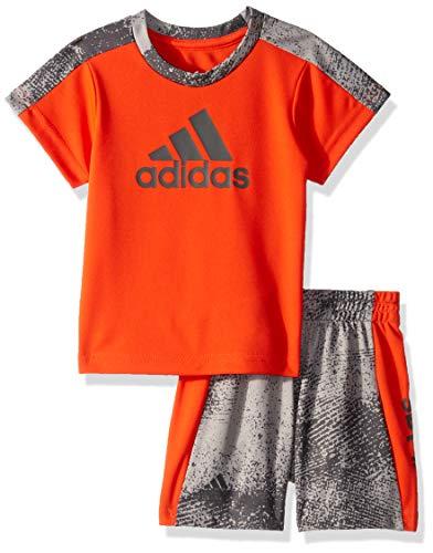 adidas Baby Boys Sleeve Tee and Short Set, Fusion Orange, 9 Months (Orange Adidas Baby)
