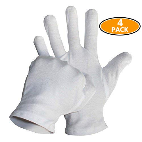 Sonnis 13 Pairs White Cotton Gloves for Cosmetic Moisturizing Coin Jewelry and Hand Spa 9.2inches XL Size 120-B