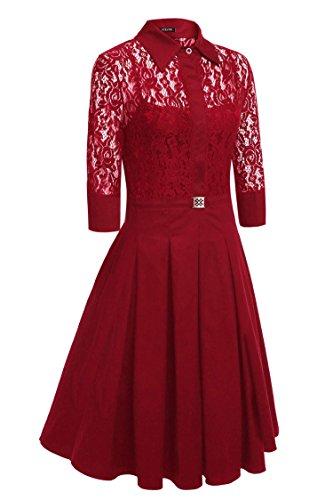 Robe Sweat-shirt Robe Bleu Marine Dozenla Pour Les Femmes Des Années 1950 Robes Robe Rouge