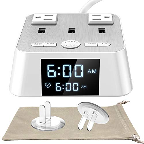Alarm Clock with USB Charger UL Listed - Alarm Clock Charging Station Dock with 2 AC Outlets and 3 USB Ports Surge Protector, 6ft Extendsion cord, USB Bedside Alarm Clock For Bedrooms Home Dorm Hotel