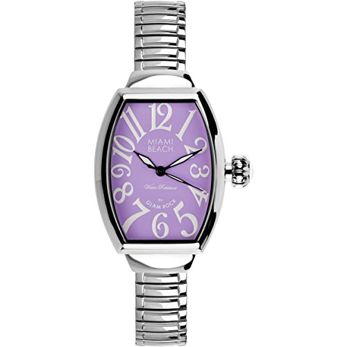 Glam Rock Women's MBD27138 Miami Beach Art Deco Purple Dial Stainless Steel - Arrivals New Warehouse