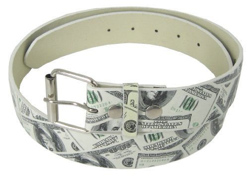 [JTC Belt Money Print Faux Leather Belt W/ Detachable Buckle, Snap On. Large] (Money Belt Buckle)