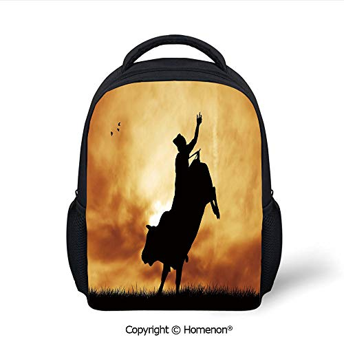 3D Bull Rider Silhouette at Sunset Dramatic Sky Rural Countryside Landscape Rodeo Decorative Printing Children School Bags Campus Student Bookbags,(12.2