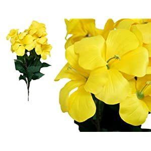 Tableclothsfactory 72 pcs Artificial Primrose Flowers for Wedding Arrangements - 4 Bushes - Yellow 31
