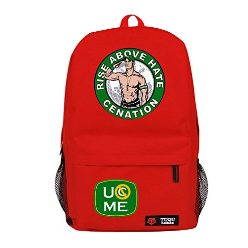 YOURNELO Cool WWE World Wrestling Federation Backpack Canvas School Bag Bookbag (B Red) by YOURNELO
