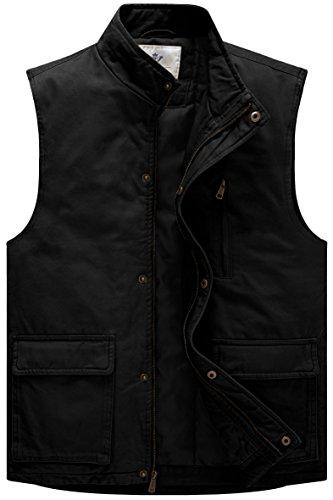 WenVen Men's Winter Cotton Quilted Vest with Zip Pocket (Black,Medium)