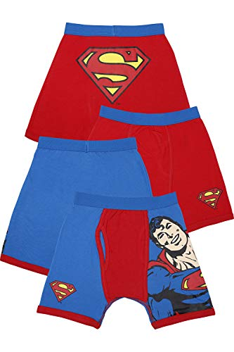 Intimo Little Boys' DC Comics- 2 Pack Classic Superman Boxer Brief, Multi, 4 (Superman Underwear Boys)