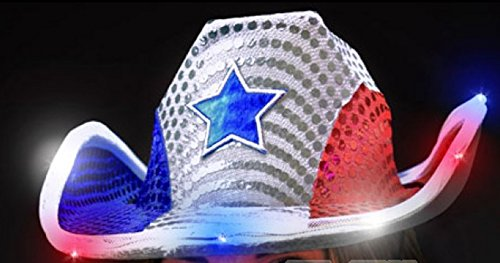 All American Light Up Flashing Cowboy Hat With Red, White, and Blue - 4th Music July Party Of