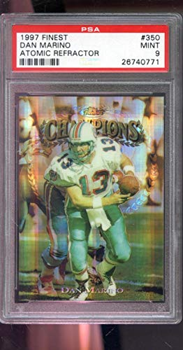 (1997 Topps Finest ATOMIC REFRACTOR #350 Dan Marino Insert MINT PSA 9 Graded NFL Football Card)