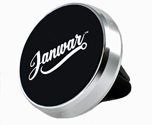 JANWAR Universal Magnetic Air Vent Car Mount with Latest 4-Magnet Snap/Release Features + 2 metal plates – Iphone, Samsung, Android, HTC, Galaxy, Cell Phone (Premium Silver)