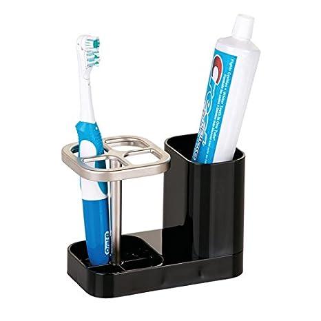 mDesign Porta cepillo de dientes - Soporte para cepillo de dientes y pasta de dientes - Accesorios para el baño prácticos - negro: Amazon.es: Hogar