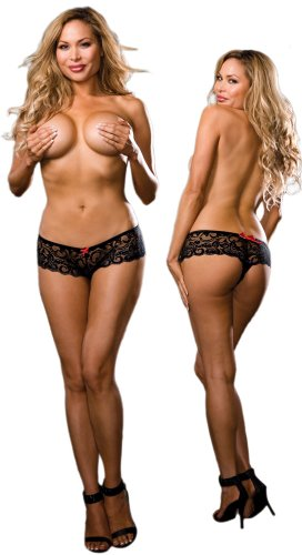 Plus Size Sexy Black Stretch Lace Open Crotch Boy Shorts Panties