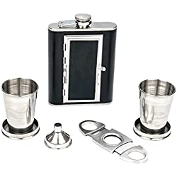 Perfect Pregame Flask Gift Set With Collapsible Shot Glasses and Double Bladed Guillotine Cigar Cutter and Funnel - Awesome Groomsmen Flask Set