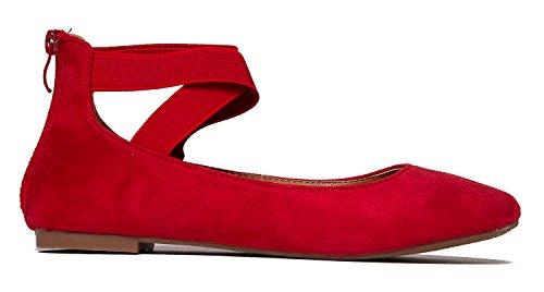 J. Adams Elastic Cross Strap Slip On - Cómodo Ballet Toe De Punta Cerrada - Zapato Bajo De Correa De Tobillo - Kelli By Red Imsu