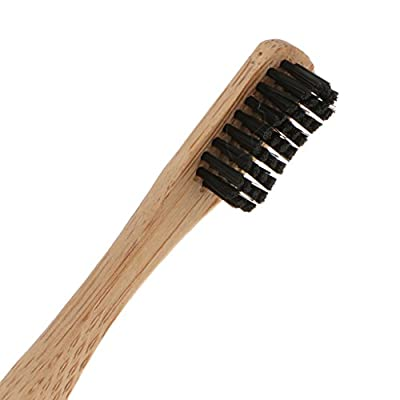 4 x E-Cron Bamboo Toothbrush (Black) with Eco-friendly, 100% organic and biodegradable toothbrush handle. Your Natural Dental Care with the clean and warm touch of the bamboo.