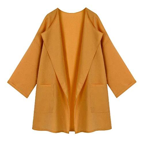 Adelina Uni Parka Femme Longues Manche Coat Revers Hiver Avant Bouffant Poches Costume Casual Manches Cardigan fvfWrqxwTU
