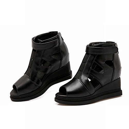 Charm Foot Mujeres High Top Peep Toe Sandalias De Tacón Oculto Sandal Negro