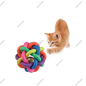 Kiki n Pooch Cat Chew Knot Ball Woven Braided Rainbow Bouncy Rubber Toy with Jingle Bell Inside for Pet Training and Teeth Cleaning (Multicolour, Small)