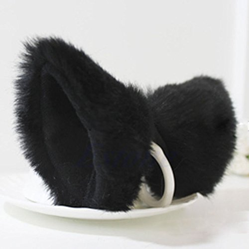 Anime Neko Hair Clip Cosplay Halloween Party Cat Fox Ears Long Fur Orecchiette #Black -
