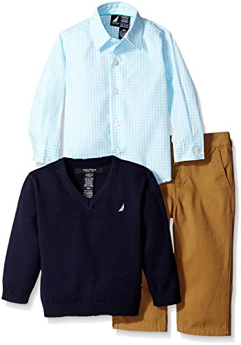 [Nautica Baby 3 Piece Woven Sweater Set, Sport Navy, 0/3 Months] (Long Sleeve Woven Sweater)