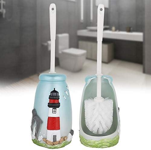 バスルームトイレブラシホルダー、バスルームノベルティトイレブラシホルダーマリン灯台パターン樹脂トイレスクラバーセットトイレブラシ