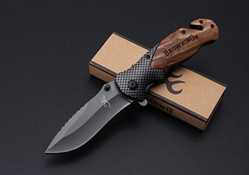 Browning knives X50 Tactical Folding Knives, Wood +Carbon fiber Handle Blade 440C 57HRC Camping Survival knife Pocket folding Knife