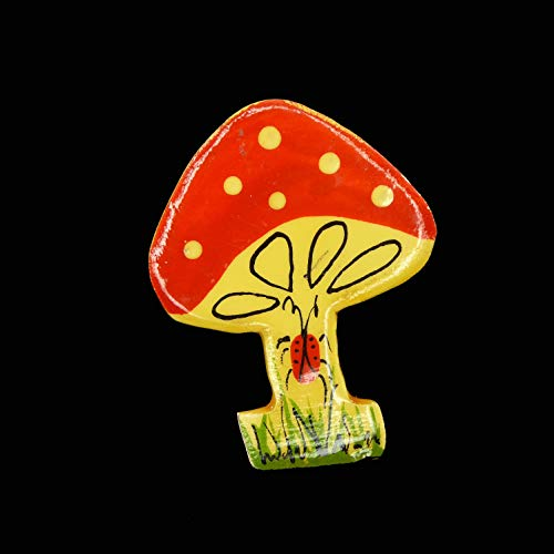 Plastic Enamel Mushroom Pin, Mod Era Hand Painted Polka dots and Red & Black Lady Bug, Vintage 1960's 1970's, Brooch