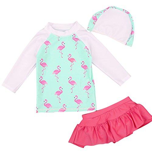 Big Girl 2pcs Swimsuit with Skirt Long Sleeve Cute Swimwear Kid Children Bathing Suit Flamingo SkyBlue -