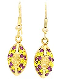FOOTBALL EARRINGS - DANGLE FOOTBALL EARRINGS - MORE COLORS AVAILABLE! PURPLE/YELLOW IN GOLD