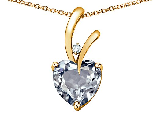 Star K Heart Shape 8mm Genuine Aquamarine Endless Love Pendant Necklace 10 kt Yellow Gold