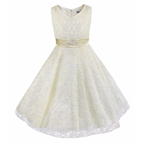 iEFiEL Kids Big Girls V-Neck Lace Flower Dress Graduation Pageant Ball Gown Ivory 6 (V-neck Gown Ball)