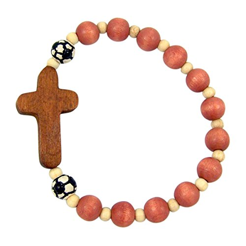 My Sports Bracelet with Soccer Beads and Wooden Cross Charm, One Size
