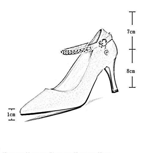 Escarpins Printemps Envelopper Pointue Tpu Bouche Hauts Talon L'orteil Profonde Chaussures Mince De Pu Tête Talons Rose Peu Ms arxwa