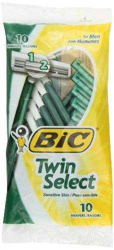 Bic Twin Select, Sensitive Skin, Disposable Shaver for Men, Pack of 12 (10 Razors Per Pack)