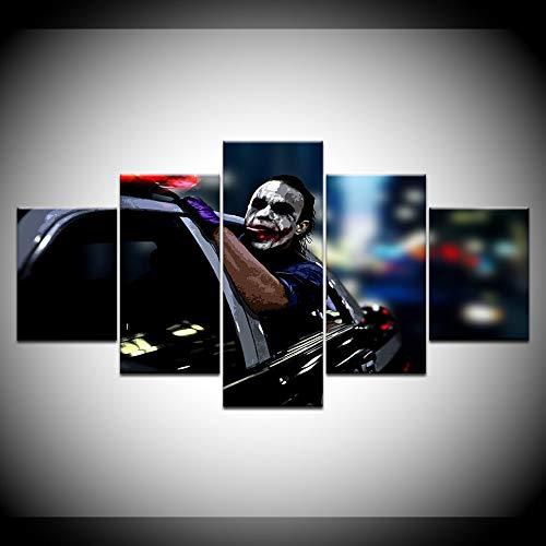 PUHAHA Decoracion para el hogar Impresiones Pintura 5 Panel Policia Coche Payaso Personaje Pintura Al oleo 200x100cm Imagenes Wall Art Modular Canvas Poster Cuadro sobre Lienzo 5 Piezas Impresion en