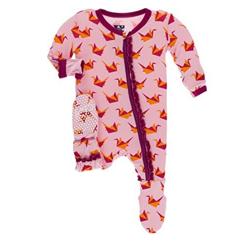 Kickee Pants Little Girls Print Muffin Ruffle Footie with Zipper - Lotus Origami Crane, 18-24 Months ()