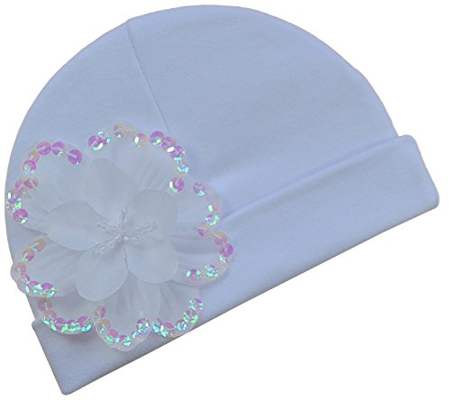 Baby Girls Celeste Cotton Infant Hat By Funny Girl Designs (0 to 6 Months, White)
