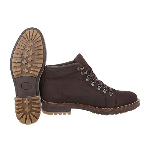 Stiefeletten Leder Herrenschuhe Combat Boots Blockabsatz Schnürer Schnürsenkel Ital-Design Boots Dunkelbraun