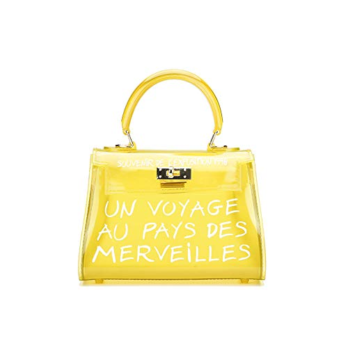 Handle Purse Bag - Poxas Top-handle PVC Women Shoulder Bags Jelly Candy Color Women Crossbody Bag (Large, Yellow)