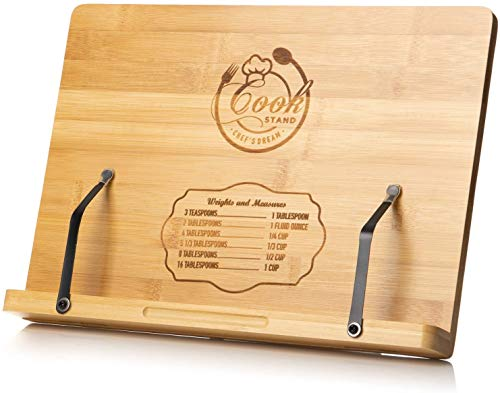 Cookbook Stand By Chef's Dream – Engraved Bamboo Book Holder With Adjustable 6 Height Positions Backing – Recipe Book…