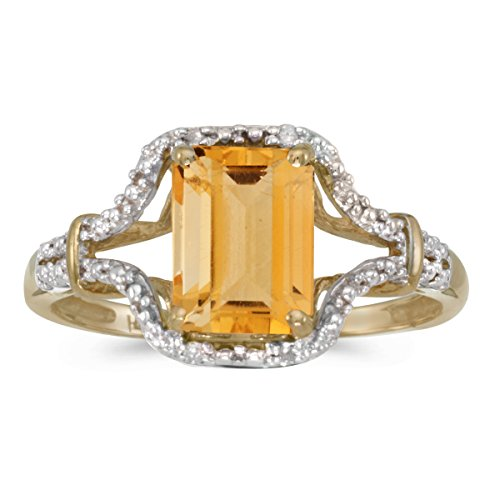 14k Yellow Gold Emerald-cut Citrine And Diamond Ring Size 9