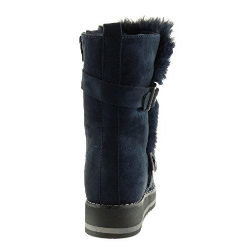 Angkorly - Zapatillas de Moda Botines Botas de nieve zapatillas de plataforma mujer piel tanga Hebilla Talón Tacón ancho alto 3.5 CM - plantilla Forrada de Piel Azul