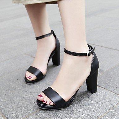 LvYuan Mujer Sandalias Semicuero PU Verano Otoño Paseo Hebilla Tacón Robusto Negro Rojo Almendra 7'5 - 9'5 cms Black