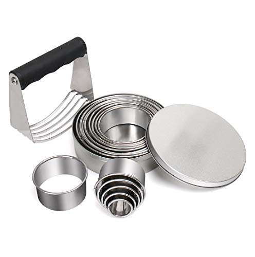 Pastry Cutter Set - LEEFE Professional Stainless Steel Dough Blender +14 Circle Ring Molds Round Cutters For Muffins Crumpets Donuts & Scones