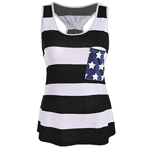 Women American Flag Stripe Printed Bowknot Racerback Tank Tops Stars Pocket Vest (S, Black)