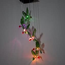 Green Hummingbirds Solar Powered Wind Chime Spinner Night Light, Multi-Colors Changing Windlight for Outdoor Garden Yard Decoration