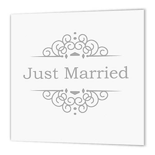 3dRose ht_151589_1 Just Married in Silver with Fancy Swirls, Grey Gray, Wedding Marriage Iron on Heat Transfer for White Material, 8 by 8-Inch