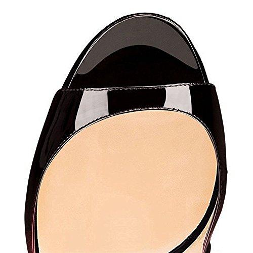 MERUMOTE - Zapatos de vestir de Material Sintético para mujer rojo y negro