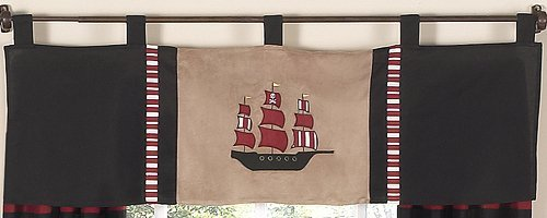 Sweet Jojo Designs Treasure Cove Pirate Window Valance (Pirates Cove Nursery)